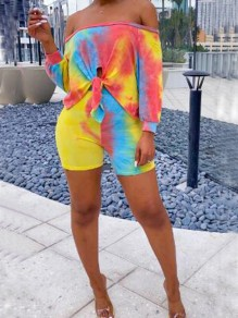 Yellow Colorful Irregular Off Shoulder Two Piece Clubwear Beach Holiday Short Jumpsuit