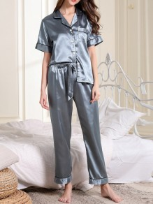 Grey Pockets Single Breasted Sashes Two Piece Fashion Long Jumpsuit