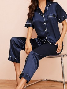 Navy Blue Satin Pockets Single Breasted Sashes 2-in-1 Long Pajama Sets Sleepwear Jumpsuit