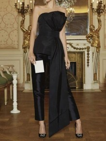 Black Irregular Bandeau Off Shoulder One Piece Banquet Party Long Jumpsuit