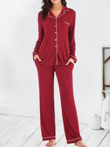 Wine Red Single Breasted Pockets 2-in-1 Fashion Long Pajama Sets Sleepwear Jumpsuit