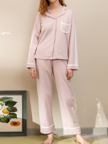 Pink Single Breasted Turndown Collar Long Sleeve Cute Jumpsuit Sleepsuit Pajamas