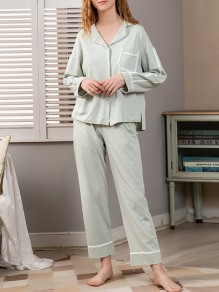 Green Single Breasted Turndown Collar Long Sleeve Cute Jumpsuit Sleepsuit Pajamas