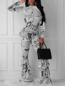 White-Black Monogram Newspapers Pattern Cascading Ruffle One Piece Elegant Party Long Jumpsuit