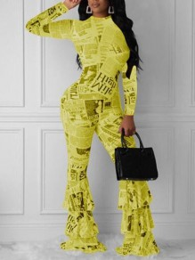 Yellow-Black Monogram Newspapers Pattern Cascading Ruffle One Piece Elegant Party Long Jumpsuit