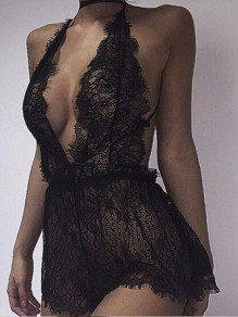 Black Floral Lace Halter Neck Deep V-neck Backless Two Piece Lingerie Pajamas Sleepwear