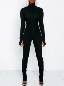 Black Lucky Label Zipper Band Collar Long Sleeve Bodysuit Sports Long Jumpsuit With Gloves