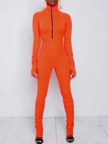 Orange Lucky Label Zipper Band Collar Long Sleeve Bodysuit Sports Long Jumpsuit With Gloves