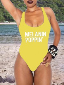 "Yellow ""MELANIN POPPIN"" Letter Print Square Neck One-Piece Swimwear"