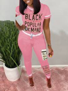 "Pink ""BLACK BY POPULAR DEMAND"" Monogram Print Round Neck Short Sleeve Drawstring Waist Sports Long Jumpsuit"