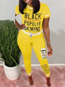 "Yellow ""BLACK BY POPULAR DEMAND"" Monogram Print Round Neck Short Sleeve Drawstring Waist Sports Long Jumpsuit"