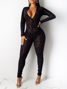 Black Leopard Print Zipper Grenadine V-neck Long Sleeve Bodysuit Long Jumpsuit