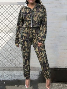 Green Camouflage Print Zipper Hooded Long Sleeve Two Piece Long Cargo Pants Casual Long Jumpsuit