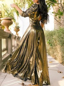 Golden Patchwork Grenadine Deep V-neck Puff Sleeve Ruched Wide Leg Palazzo Pants Flowy Long Jumpsuit