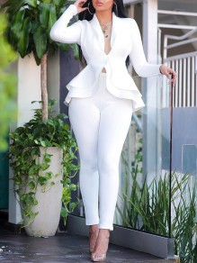 White Layers Of Ruffle Buttons Tailored Collar V-neck Peplum Blazer Suits Two Piece High Waisted Work Long Jumpsuit
