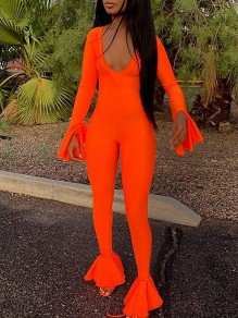 Neon Orange V-neck Flare Long Sleeves Flare Bell Bottom Bodysuit Clubwear Long Jumpsuit