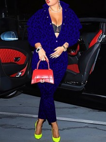 Blue Leopard Print Single Breasted High Neck Long Sleeve Outwear Two Piece Casual Long Jumpsuit