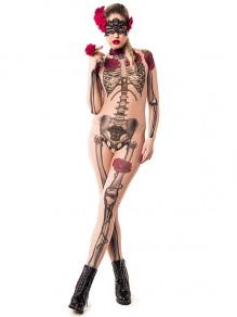 Khaki Skeleton And Rose Print High Neck Long Sleeve Bodysuit Halloween Costume Long Jumpsuit