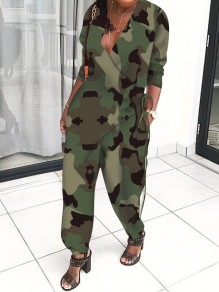 Green Camouflage Print Lace-up V-neck Pockets Bloom Pants Casual Long Jumpsuit
