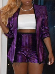 Purple Sequin Blazer Long Sleeve Two Piece Glitter Sparkly Birthday Party Short Pants Jumpsuit