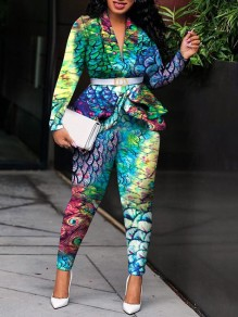 Green Fish Scale Print Tailored Collar Long Sleeve Ruffle Blazer Two Piece Long Jumpsuit