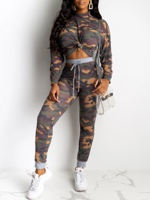 Green Camouflage Print Band Collar Long Sleeve High Waisted Two Piece Sports Long Jumpsuit