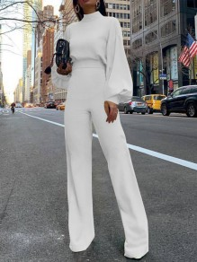 White Cut Out Backless High Neck Lantern Sleeve Long Jumpsuit