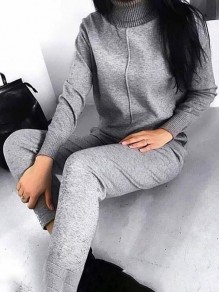 Grey Patchwork Drawstring Bodycon Comfy Long Sleeve Going out Jumpsuit