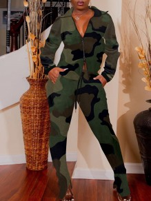Army Green Camouflage Print Zipper Pockets Turndown Collar Long Sleeve Two Piece Casual Long Jumpsuit