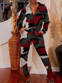 Red Camouflage Print Zipper Pockets Turndown Collar Long Sleeve Two Piece Casual Long Jumpsuit