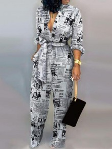 Black-White Monogram Newspaper Pattern Pockets Sashes One Piece Wide Leg Long Jumpsuit