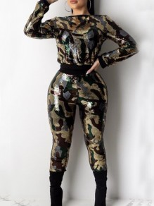 Army Green Camouflage Sequin Two Piece Christmas Sparkly Banquet Party Long Jumpsuit