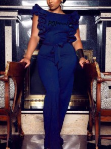 Cobalt Blue Letter Poppin Pattern Ruffle Backless Elegant Party Wide Leg Long Jumpsuit