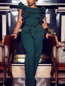 Dark Green Letter Poppin Pattern Ruffle Backless Elegant Party Wide Leg Long Jumpsuit