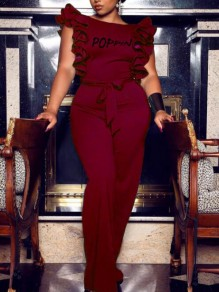 Burgundy Letter Poppin Pattern Ruffle Backless Elegant Party Wide Leg Long Jumpsuit