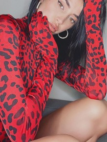 Red Leopard Print Band Collar Long Sleeve Short Jumpsuit With Gloves
