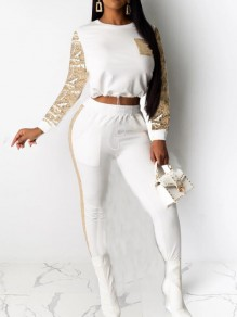 White-Golden Patchwork Sequin Pockets Drawstring NYE Sparkly Two Piece Long Jumpsuit