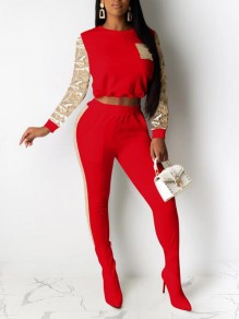 Red-Golden Patchwork Sequin Pockets Drawstring NYE Sparkly Two Piece Long Jumpsuit