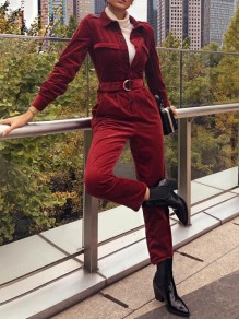 Dark Red Patchwork Belt Corduroy Tailored Collar Long Sleeve Vintage Long Jumpsuit