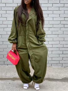 Army Green Pockets Single Breasted One Piece Haren Cargo Hippie Long Jumpsuit