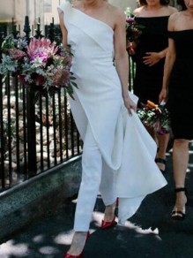 White Irregular Asymmetric Shoulder False 2-in-1 Wedding Party Long Jumpsuit With Maxi Overlay