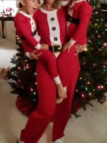 Red-White Patchwork Cartoon Mrs Santa Clause Pattern Two Piece Christmas Party Long Jumpsuit