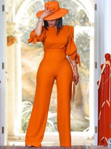 Orange Round Neck Puff Elbow Sleeve High Waisted Wide Leg Palazzo Pants Work Long Jumpsuit