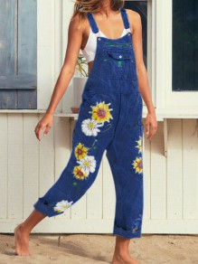 Blue Sunflower Print Pockets Shoulder-Strap Wide Leg Palazzo Pants Long Overall Jeans