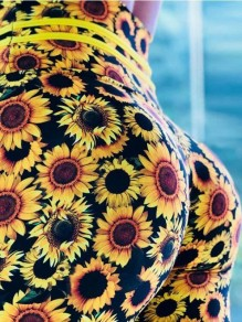 Yellow Sunflower Pattern Push-up Stretch Yoga Slim Casual Sports Legging