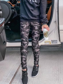 Army Green Camouflage Print High Waisted Fashion Long Legging