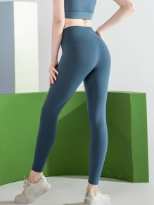Dark Blue Yoga Sports High Waisted Skinny Long Legging
