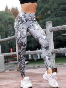 Grau Schlange Blumenprint Hohe Taille Sport Schlank Fitness Yoga Push Up Leggings Damen Mode