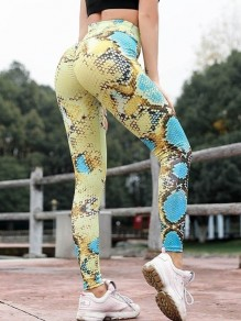 Gelb Schlange Blumenprint Hohe Taille Sport Schlank Fitness Yoga Push Up Leggings Damen Mode