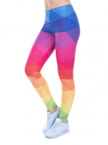 Rainbow Geometric Print Sports Yoga Workout Long Legging